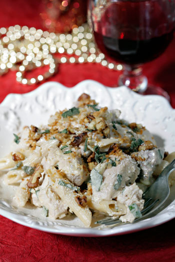 Turkey Penne with Lemon Walnut and ginger