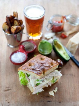 Turkey and Avocado Caesar Foccacia Sandwich