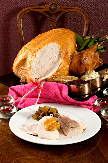 Turkey with sour cherry stuffing
