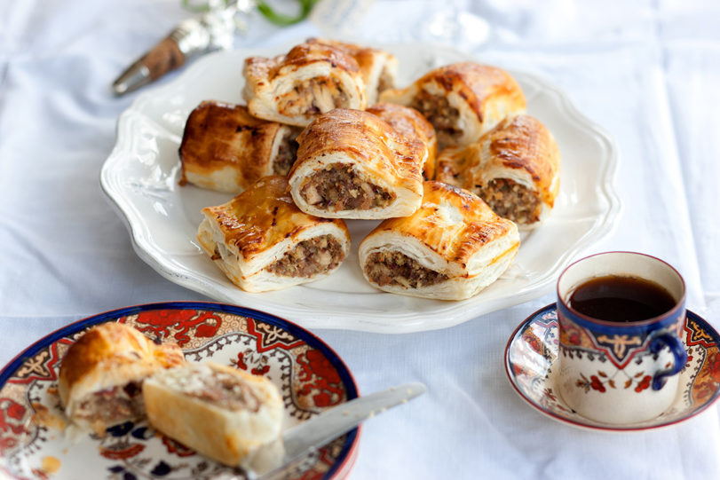 herby golden turkey and cranberry sausage rolls