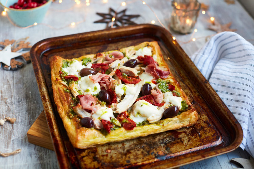 Golden Turkey, Parma Ham and Roasted Red Pepper Puff Pastry Pizza