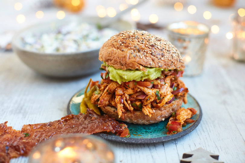 Mexican Style Pulled Golden Turkey Burger with Sprout Slaw recipe
